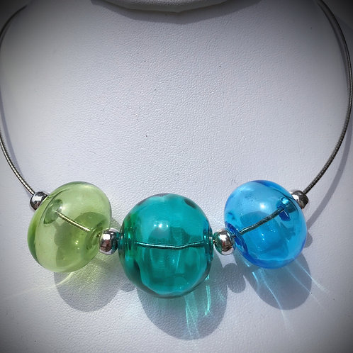 N194 3 Hollow Bead Necklace – Transparent Lime/Teal/Sky Blue