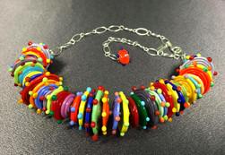 BLN104 1/2 Multi-Color Opaque Disc w/Multi-Color Dots Necklace