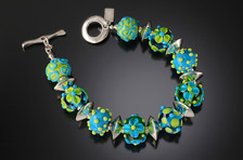 B505 Transparent and Opaque Lime/Turquoise Bracelet
