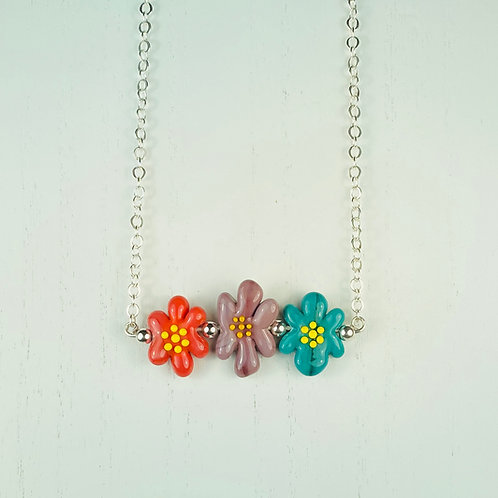 N063 Bar Necklace Multicolor Opaque Flower Beads Red/Plum/Green