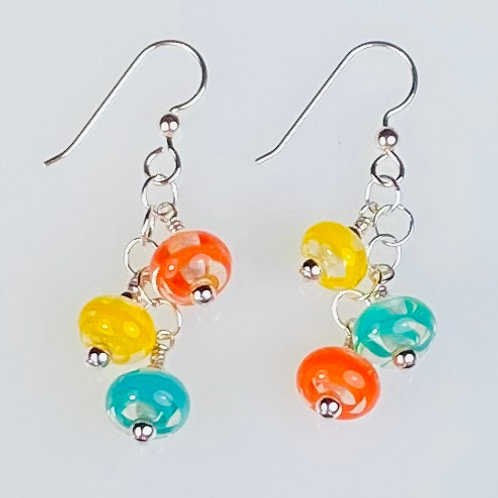 E155 Six Baby Bead Earrings Filigrana Beads Orange/Yellow/Teal