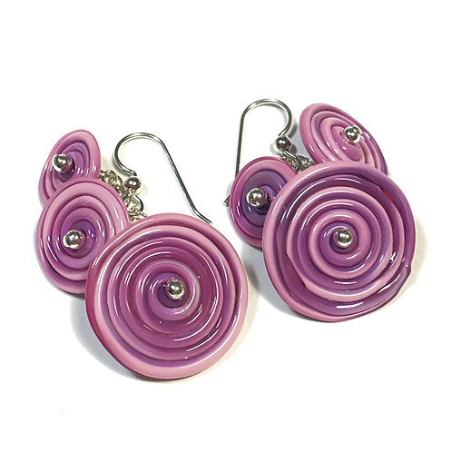 E044 Flying Saucer 6 Disc Bead Earrings Opaque Pink/Purple