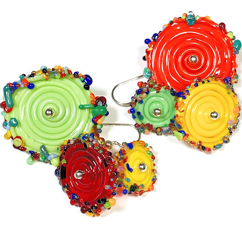 E060 Flying Saucer 6 Disc Bead Earrings Opaque Lime/Yellow/Red+ Frit Tri
