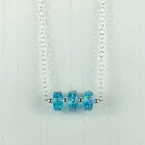 N074 Bar Necklace Transparent Barrel Beads w/Silver Glass Trim  Turquoise
