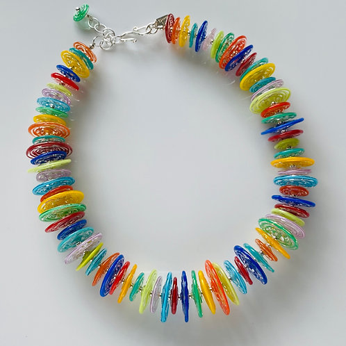 N020 Multicolor Filigrana Disc Bead Necklace Full