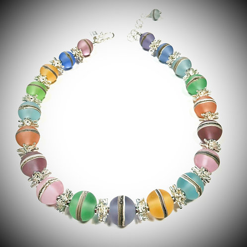 N0148 Etched Transparent Pastel Round Bead Necklace w/Silvered Ivory Trim