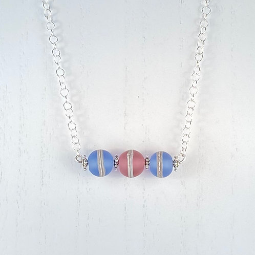 N073 Bar Necklace Etched Transparent Round Beads Blue/Pink/Blue