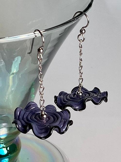 E006 Ruffle Bead Earrings Purple Beads w/Black Trim