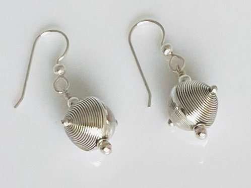 E201 Bali Bead Sterling Silver Sparkling Earrings - E201