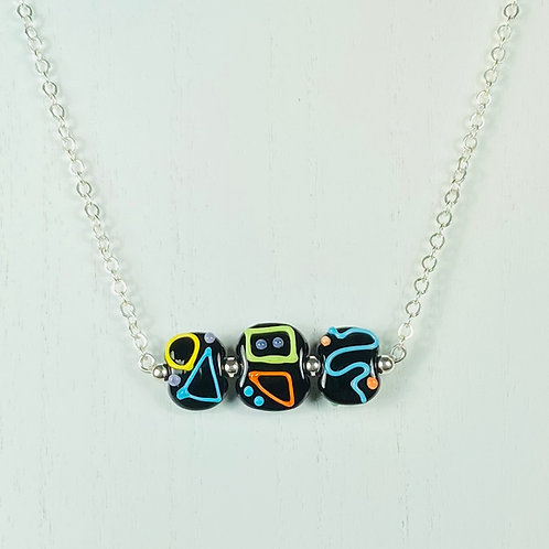 N052 Bar Necklace Opaque Flat Black Beads w/Scribble Trim