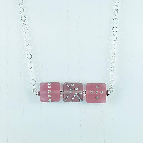 N066 Bar Necklace Etched Transparent Pillow Beads w/Silver Glass Rose/Plum/Rose
