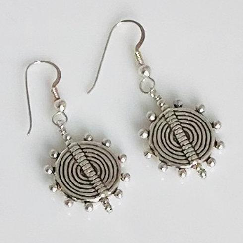 E221 Bali Bead Sterling Silver Sparkling Earrings - E221