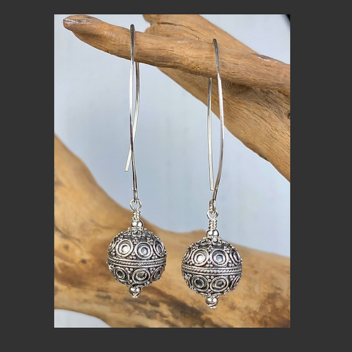 E236 Bali Bead Sterling Silver Sparkling Earrings - E236