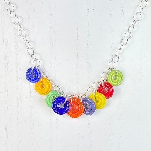 N126 Nine Bead Necklace Opaque Multicolor Discs