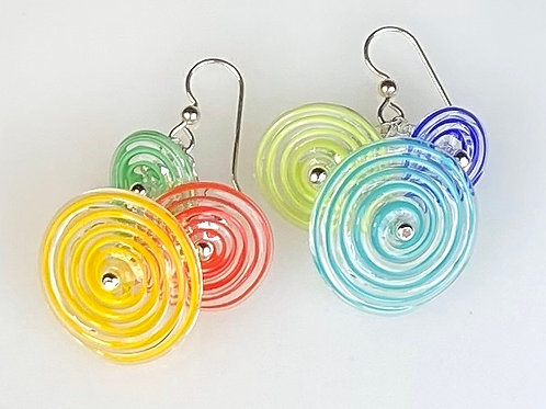 E052 Flying Saucer Earrings 6 Filigrana Discs Yellow/Red/Grn/Blue/Lime/Turquoise