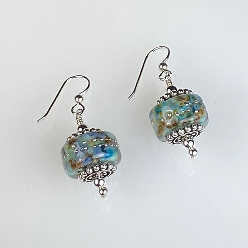 E253 Chunky Barrel Earrings w/Frit Melted In Turquoise/Topaz/Blue