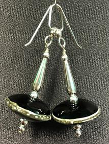 E010 Silver Trimmed Chunky Black Saucer Earrings