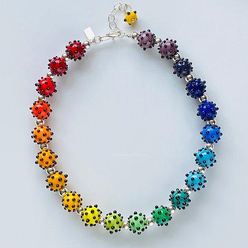 N035 Opaque Rainbow Bead Necklace w/Black Dot Trim