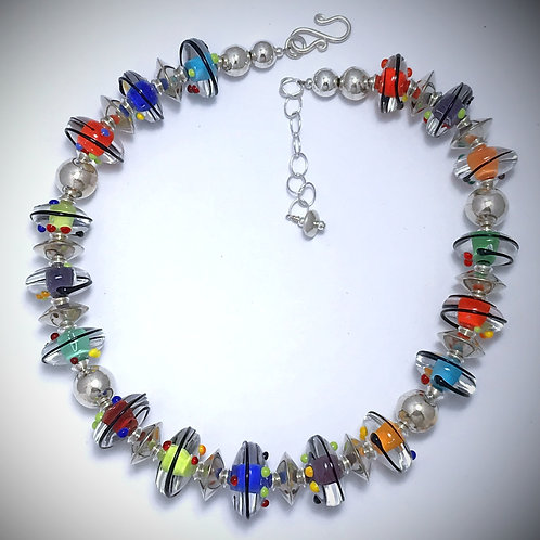 N095 Opaque Base Encased in Clear Chunky Saucer Beads