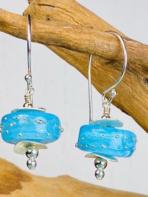E042 Chunky Barrel Earrings - Ice Blue