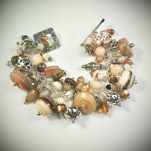 B022 Cha-Cha Bracelet Opaque Topaz/Ivory Barrel Beads w/Silvered Ivory Trim