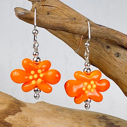 E102 Flower Bead Earrings Opaque Orange w/Yellow Stamens