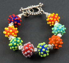 B517Multicolor Opaque Base w/Multicolor Big Dots Bracelet