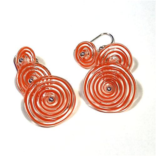 E048 Flying Saucer 6 Disc Bead Earrings Filigrana Orange