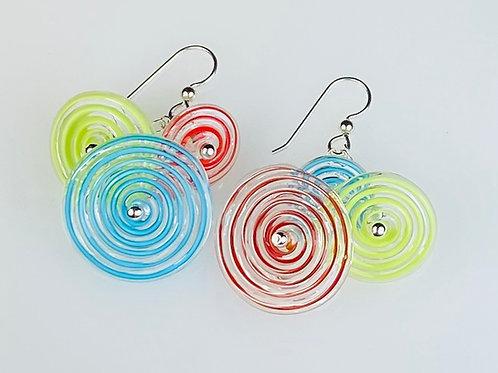 E053 Flying Saucer Earrings 6 Filigrana Discs Red/Lime/Turquoise