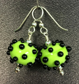 E003 Green Round Big Black Dots Earrings