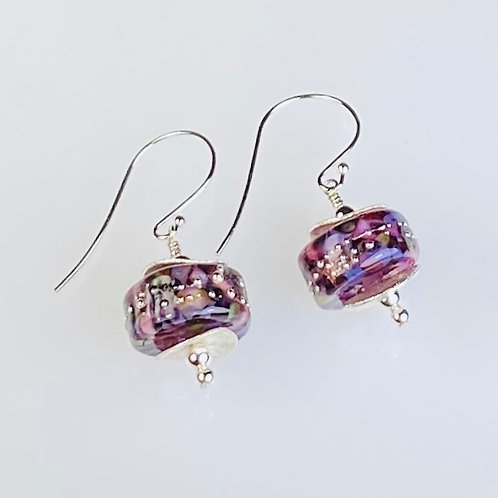 E038 Chunky Barrel Earrings w/Frit Melted In Rose/Pink/Purple