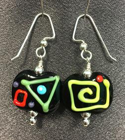E001 Opaque Black Rectangle Multi-Color Scribbles Earrings