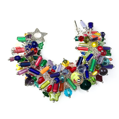 B017 Cha-Cha Bracelet Furnace Glass Beads Multicolors