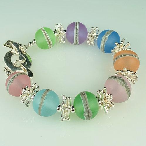 B041 Transparent Bracelet Etched Round Beads Multiple Colors Pastel