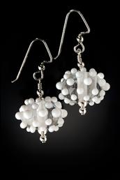 E014 Summer White Fancy Dots Earrings