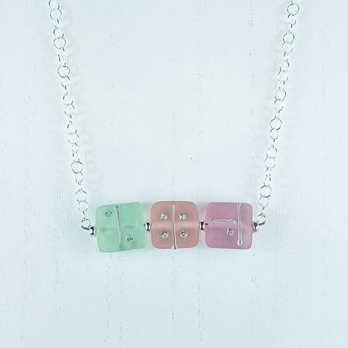 N080 Bar Necklace Transparent Pillow Beads Mint/Orange/Pink