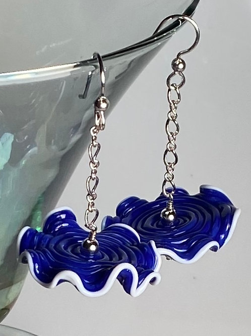 E007 Ruffle Bead Earrings Royal Blue Beads w/White Trim