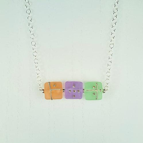 N057 Bar Necklace Transparent Pillow Beads w/Silver Glass Trim