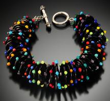 B502  Black Opaque Discs w/Dot Trim Bracelet