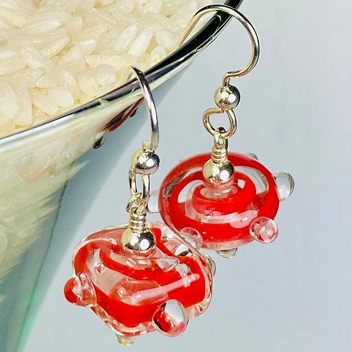 E077 Funky Filigrana Earrings w/Dot Trim Square & Round Beads Red