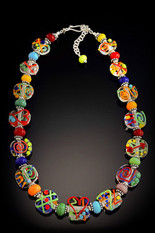 BLN127 Clear Flat Bead w/Colorful Opaque Scribbles Necklace