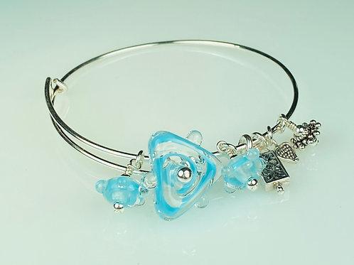 B068 A & A Bracelet  Sky Blue Filigrana Triangle Bead w/Dot Trim