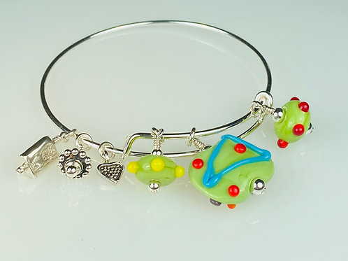B066 A & A Bracelet Opaque Flat Lime Bead w/Colorful Scribbles