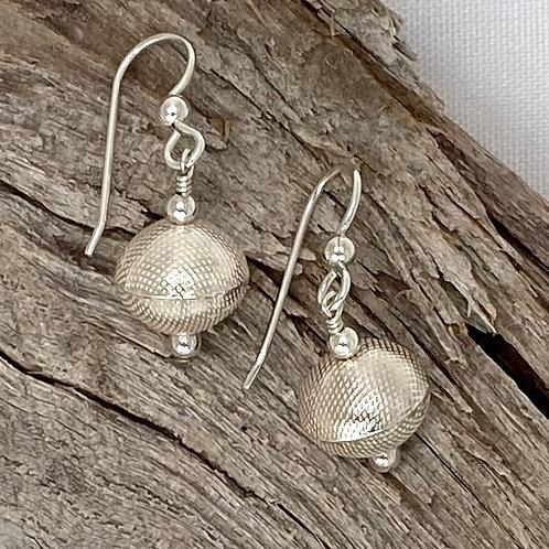 E219 Bali Bead Sterling Silver Sparkling Earrings - E219