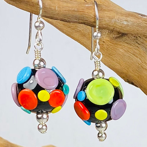 E168A Dots & Swirls Earrings Opaque Round Beads Black w/Colorful Pressed Dots