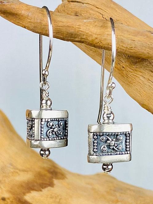 E242 Bali Bead Sterling Silver Sparkling Earrings - E242