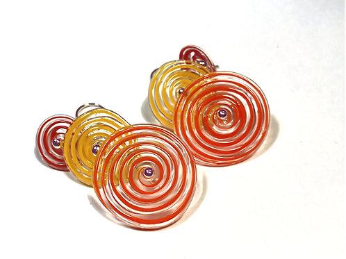 E050 Flying Saucer 6 Disc Bead Earrings Filigrana Red/Orange/Yellow