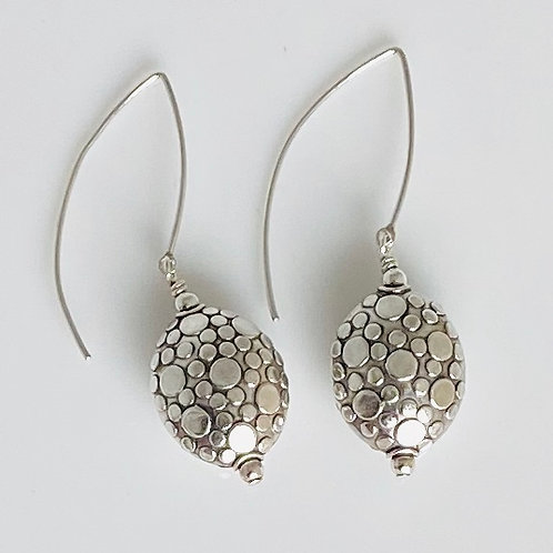 E208 Bali Bead Sterling Silver Sparkling Earrings - E208