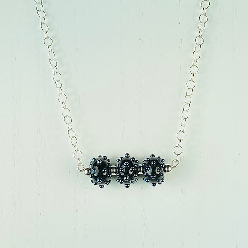 N054 Bar Necklace Opaque Black Beads w/Dots