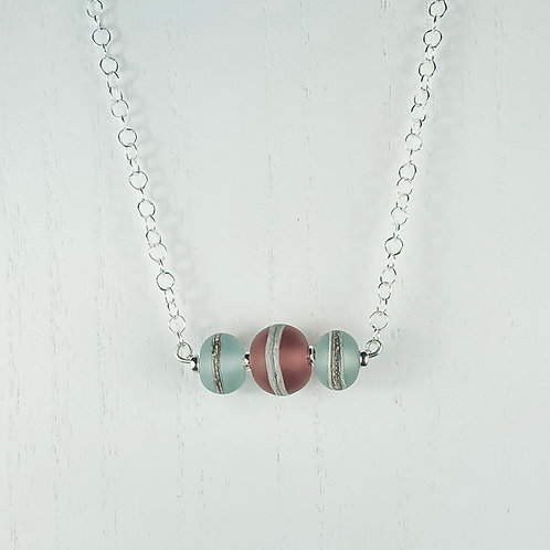 N058 Bar Necklace Transparent Round Beads w/Silver Glass Trim Orange/Purple/Lime